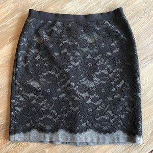 Loft gray skirt with black lace